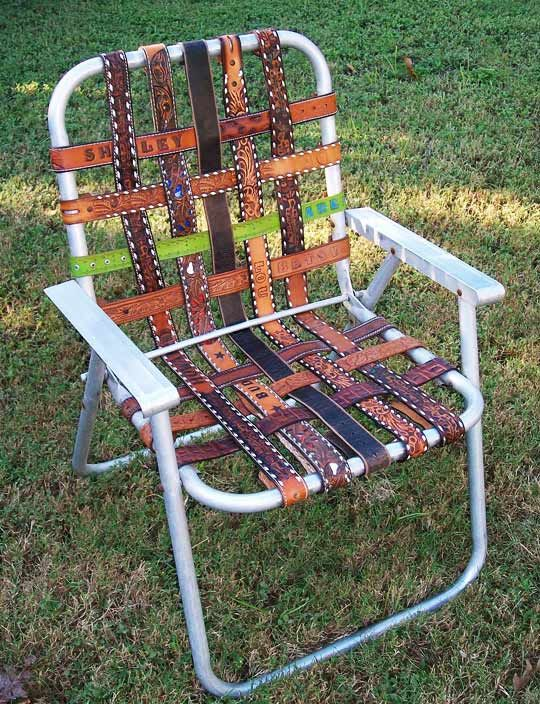 Belt strap lawn chair.Ideas, Belts Chairs, Gardens Chairs, Westerns Belts, Folding Chairs, Old Chairs, Lawns Chairs, Leather Belts, Crafts