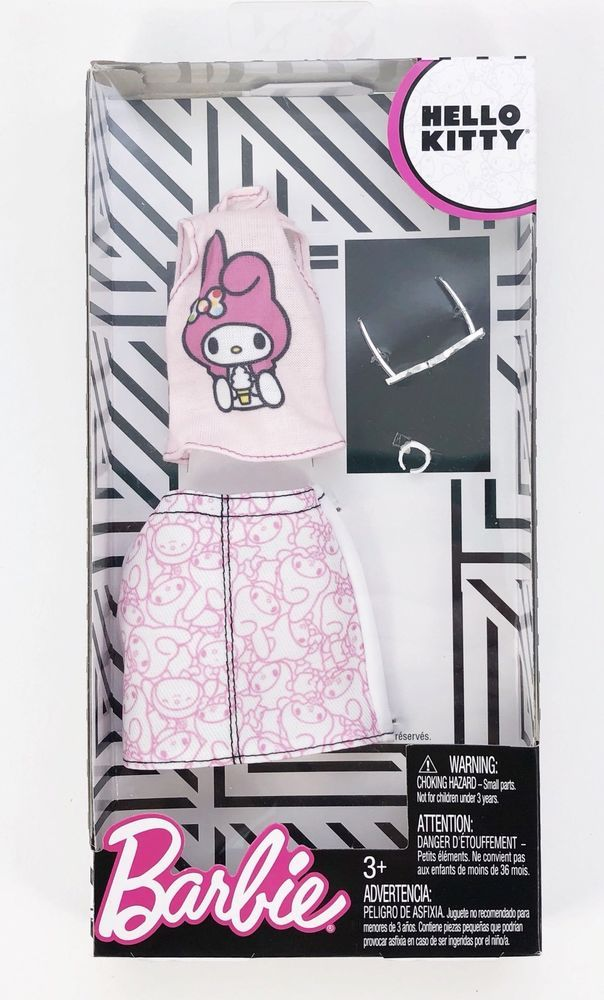 Barbie Doll Fashion Hello Kitty Outfit Melody - Top Skirt Sunglasses Watch  #Mattel