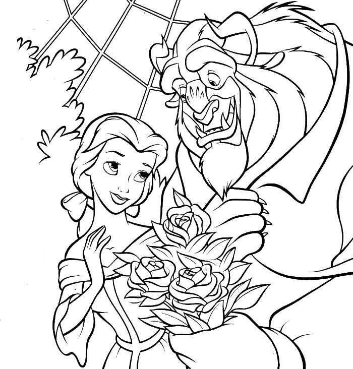 Disney Princess Belle And The Beast Romance Coloring For Kids