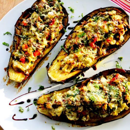 Stuffed Eggplant with Ricotta, Spinach and Artichoke. Use 1 16oz jar Mezzetta roasted bell peppers, drained, 1/2 small onion cut into wedges, 2 cans artichoke hearts, quartered, 1 150z tub ricotta. Try adding Italian bread crumbs to stuffing mixture.