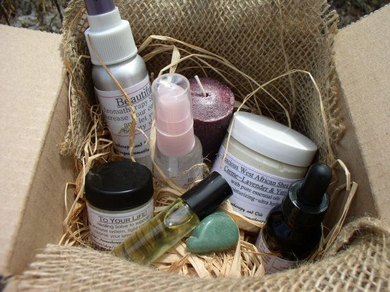 Sage's Gift Box of the Month - Aromatherapy sprays,healing essential oils, lotions, bath &body, unique jewelry, crystals, more!