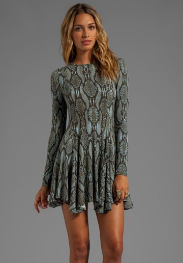 Torn by Ronny Kobo Maria Snake Print Dress in Blue