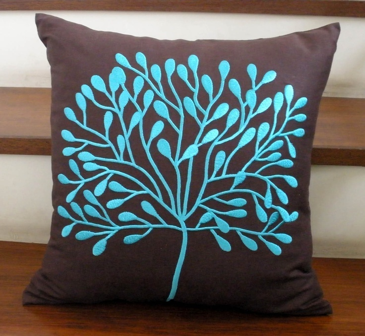 Dark Brown Linen with Turquoise Borneo Tree Embroidery Pillow Cover Turquoise, Throw pillows ...
