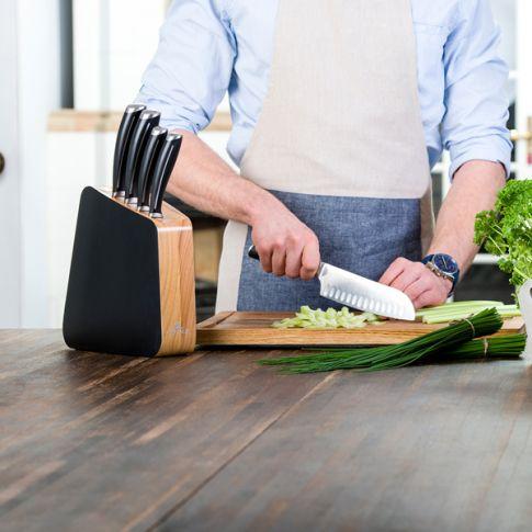 Gerlach Loft! komplet 5 noży kuchennych w bloku. Noże kuchenne do nowoczesnej kuchni. Profesjonalne i niezwykle ostre. Doskonały pomysł na prezent! profesjonalne gotowanie