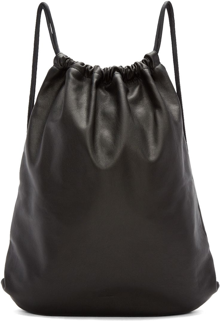 Marc Jacobs - Black Leather Drawstring Backpack