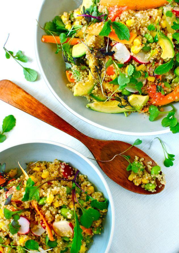Salade de quinoa au citron, avocat et edamame
