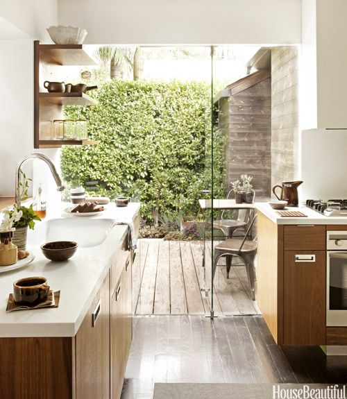 kitchen, wood, modern, glass, white, wood, open shelving, by Mark Egerstorm in House Beautiful: Spaces, Dreams Kitchens, Houses Beautiful, Kitchens Design, Indoor Outdoor, Glasses Wall, Outdoor Kitchens, Open Kitchens, Glasses Doors