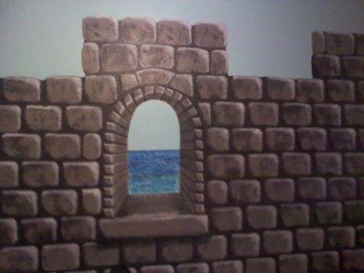 Easy-to-paint faux castle wall for a child's bedroom (or anywhere else you need a castle wall).