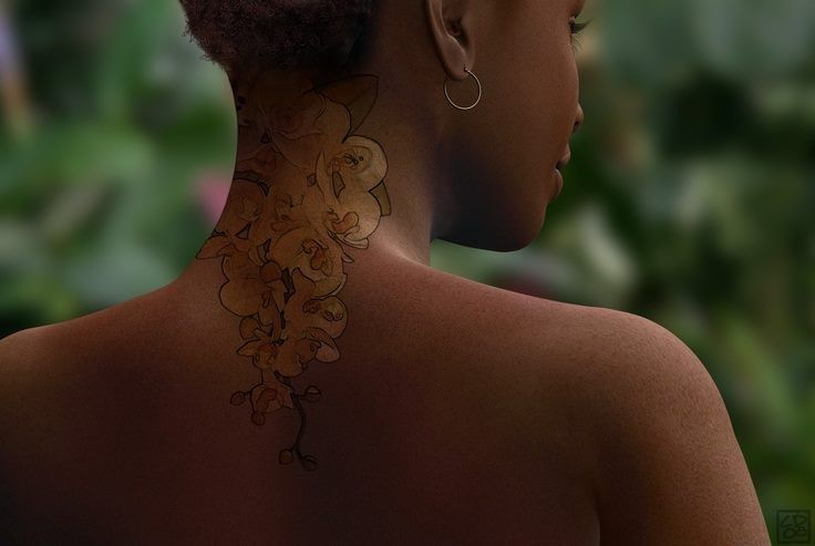 Great color tattoo on dark skin, this is very hard to do well. Nailed it! Very cute flowers.