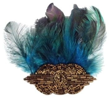 E.Kammeyer Accessories Art Deco Beaded Applique and Feather Hair Clip