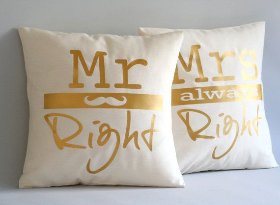 Mr Right and Mrs always Right pillow cover Wedding by Cut4you