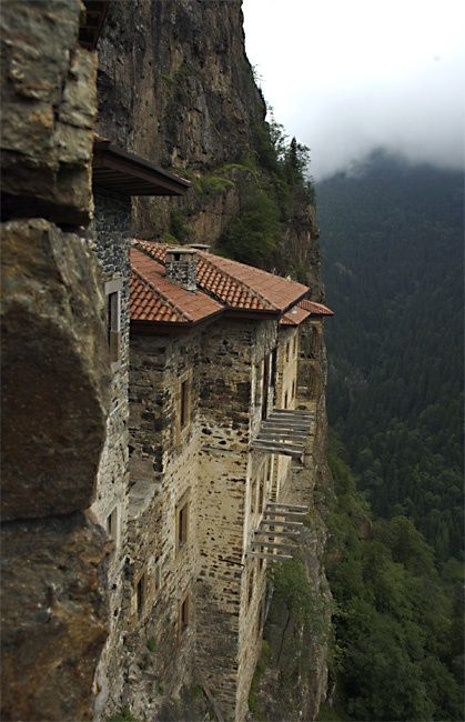 The Pontic Greek sacred Sumela Monastery, dedicated to Virgin Mary, now in Turkey