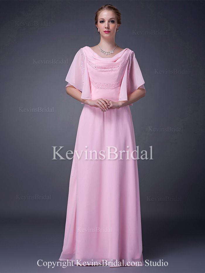 V-Neck Modest Cowl Neck Long With Sleeves A-Line Beaded Mother Of Bride Dress
