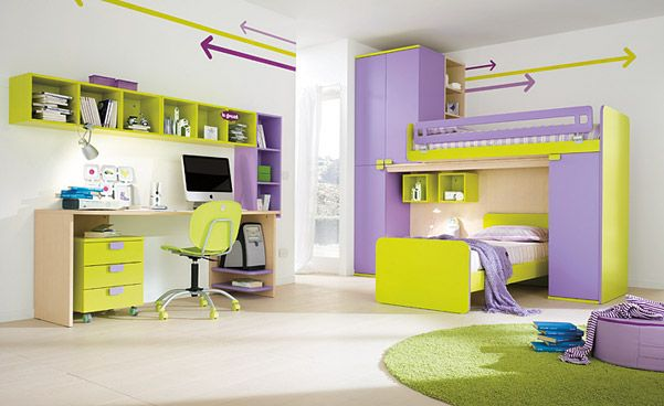 Inspiring Bedroom Design for Kidseither Girls or Boys : Marvelous Lovely Children Bedrooms Light Green And Purple Color Themed With Desk Cab...