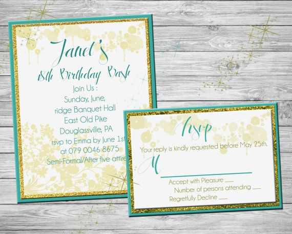 Pretty glitter birthday invitation printable  by SansDesignDeck