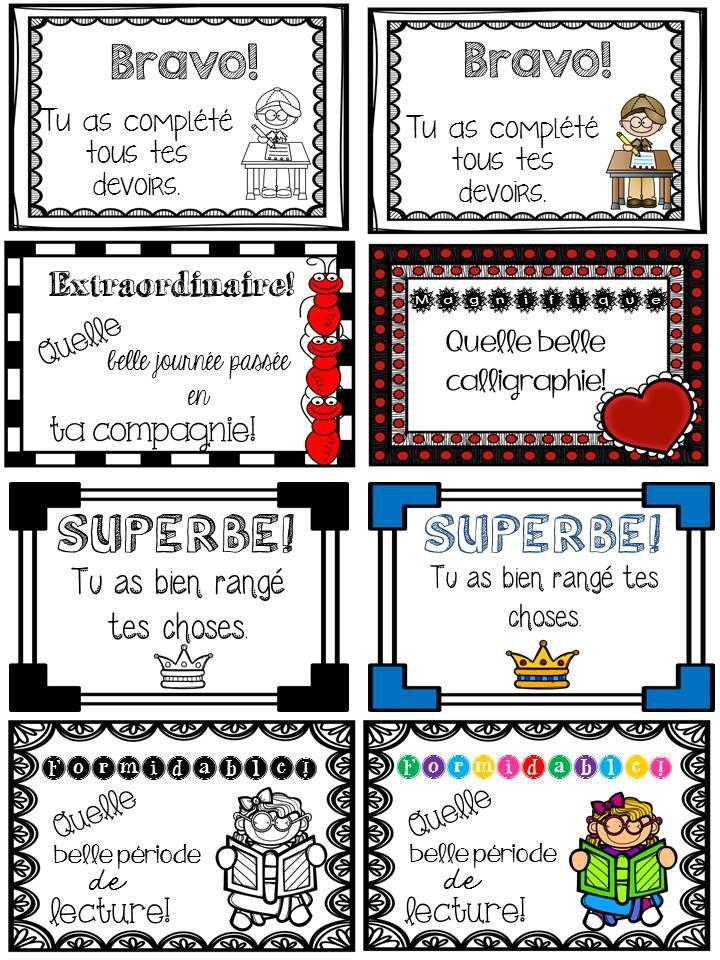 Petits certificats à brocher sur différents travaux! Parfait pour motiver vos élèves!