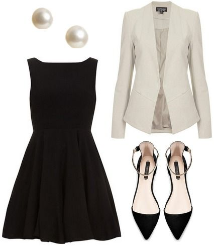 Black dress, white blazer, pearl earrings, black heels