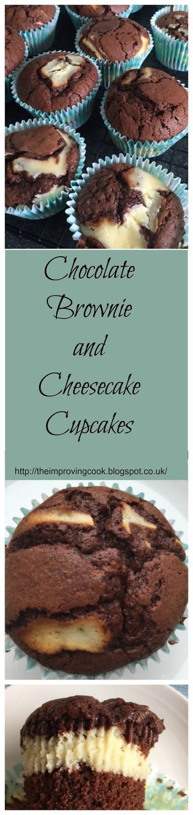 The Improving Cook: Chocolate Brownie and Cheesecake Cupcakes- rich chocolate sponge layered with cheesecake. Delicious for children's parties or afternoon tea