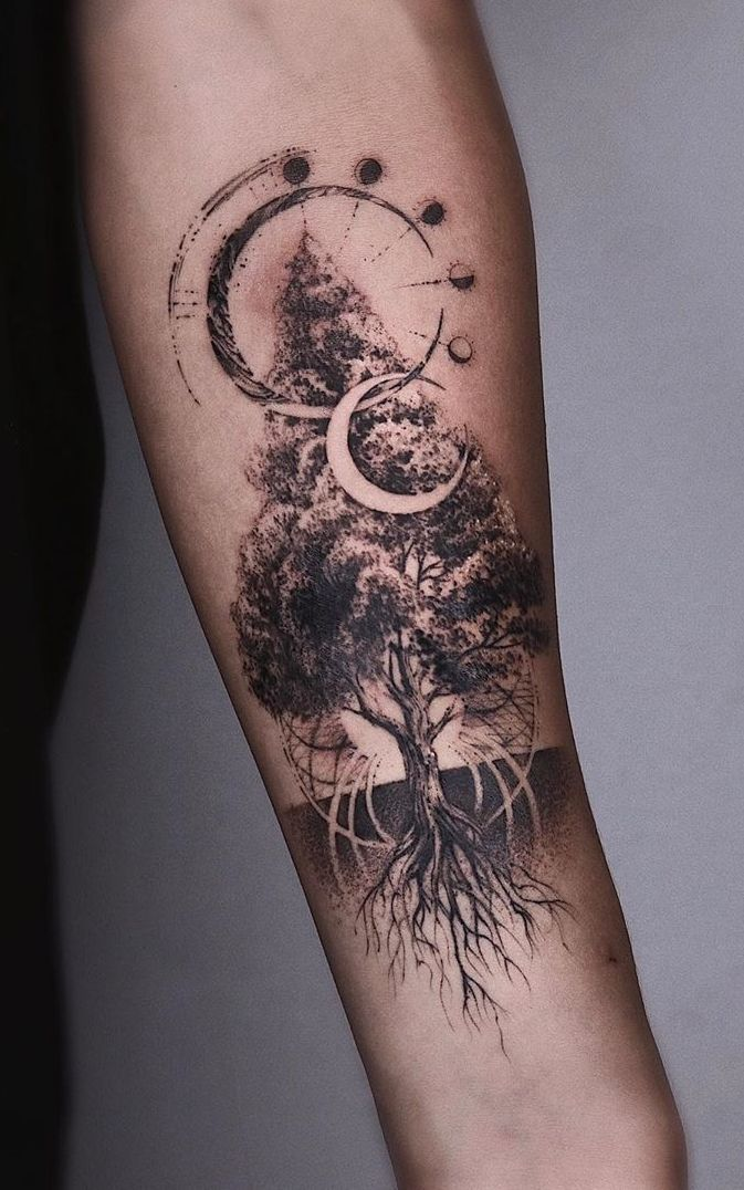 50 Gorgeous And Meaningful Tree Tattoos Inspired By Nature S Path In 2020 Tattoos For Guys Tree Tattoo Designs Tattoos