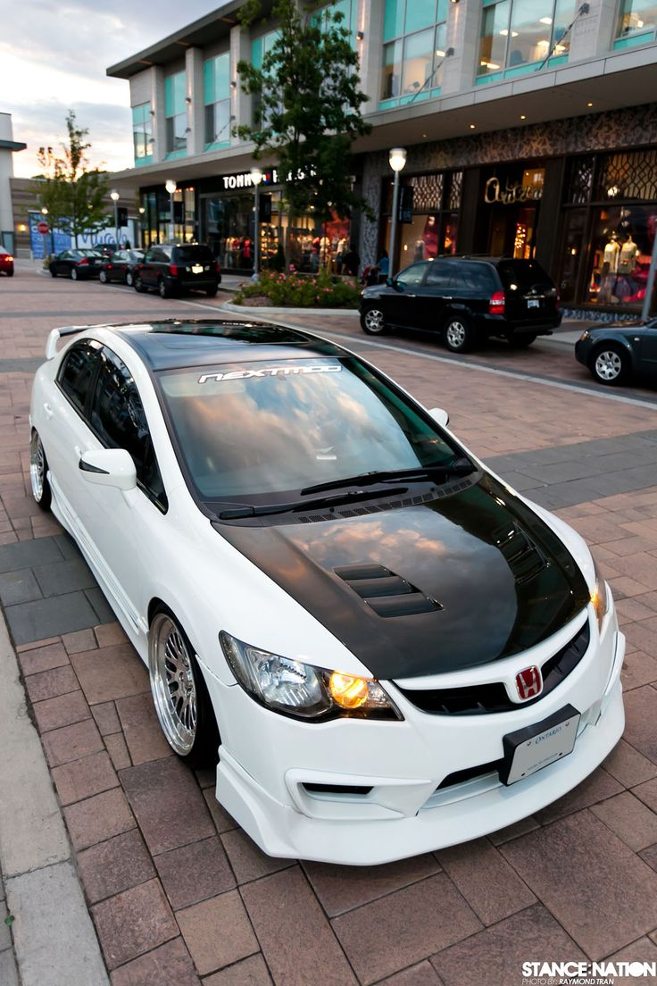 Acura CSX-S (think Honda Civic Si) with an FD2R Civic Type-R conversion via StanceNation.com