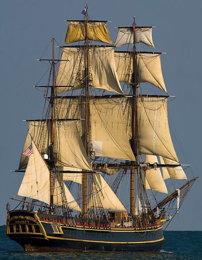 HMS Bounty. Burned at Pitcairn Island by mutineer Matthew Quintal to avoid detection by passing ships. This replica shown here, built in 1962 and featured in Mutiny on the Bounty and Pirates of the Caribbean, was sunk by Hurricane Sandy.