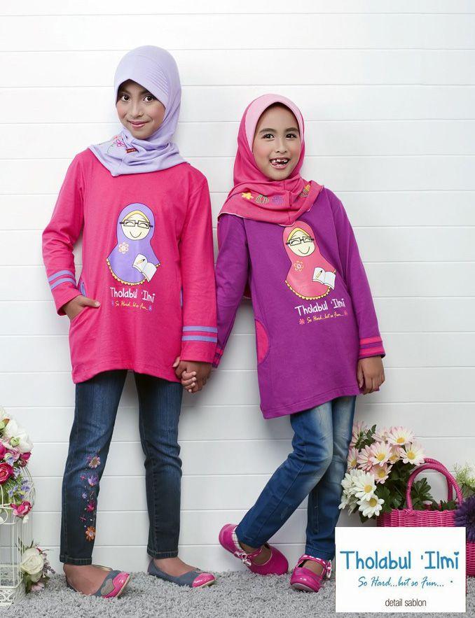 Busana Anak : Ukhti Kids UK52 | TOKO ABAA Blus anak perempuan bahan cotton combed, paduan warna menarik variasi kaos sablon  (Rp. 105.000,-)