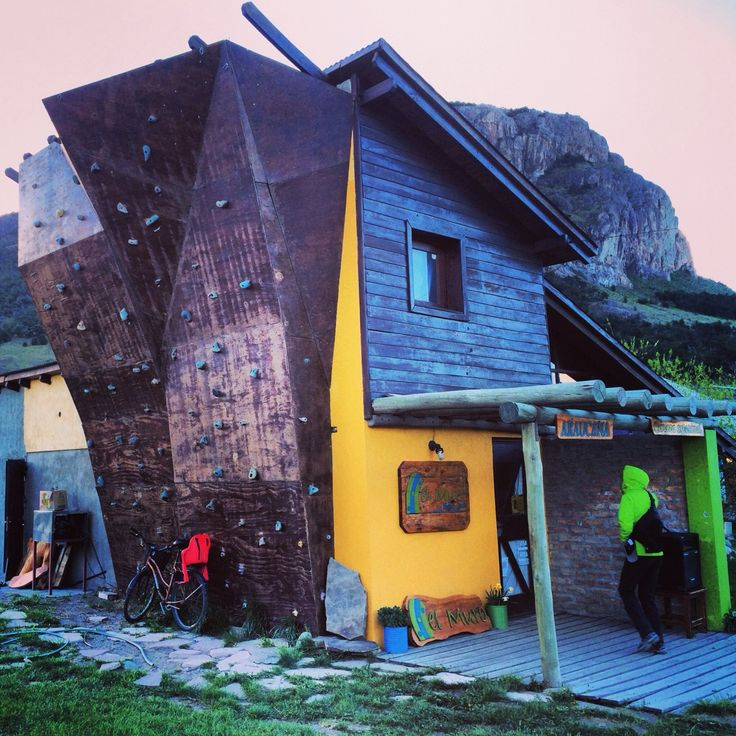 Restaurant with climbing wall in El Chalten, Los Glaciares National Park, Argentina.   Photograph by Michael Burk.
