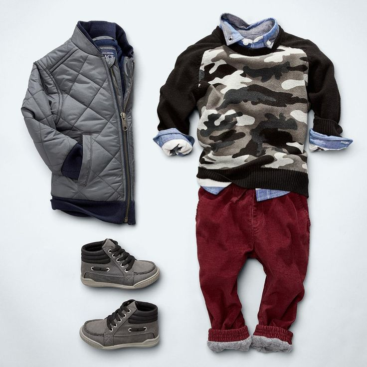 Toddler boys' fashion | Kids' clothes | Bomber jacket | Sweater | Woven top | Woven joggers | Mid-top sneaker | The Children's Place