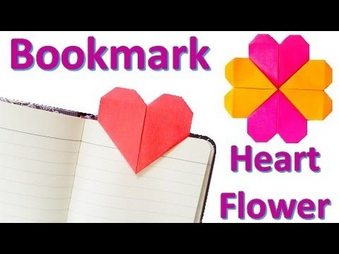 Origami HEART bookmark & HEART flower