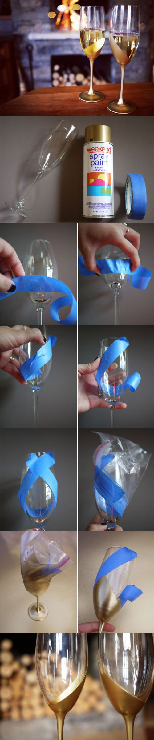 Spray paint champagne glasses
