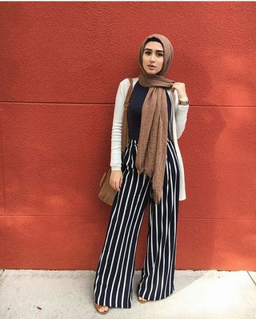 brown satin scarf/hijab + oatmeal long cardigan + black shirt + high-waisted striped black and white palazzo pants + open toed flats plus shoulder bag