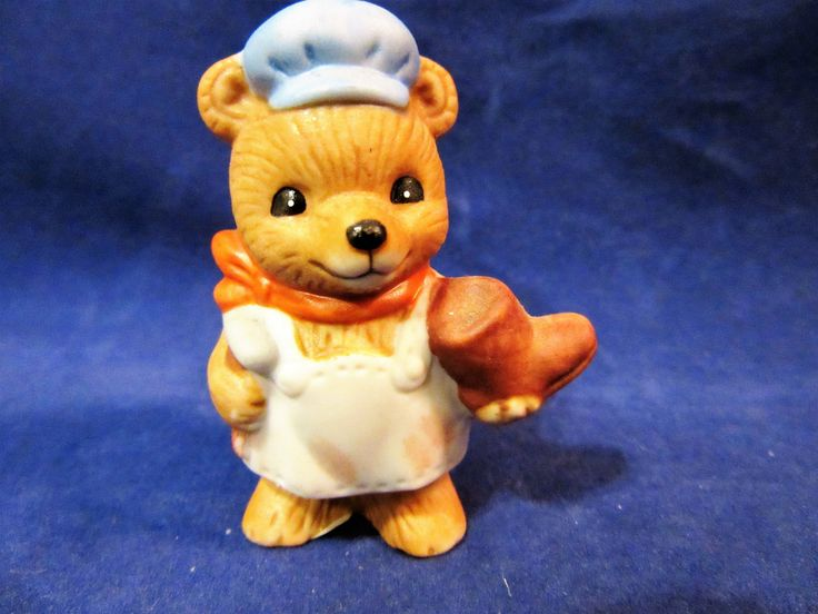 Teddy Bear Figurines Homco Collectibles Porcelain Bisque Shoe Cobbler Cake Topper Vintage by PorcelainChinaArt on Etsy