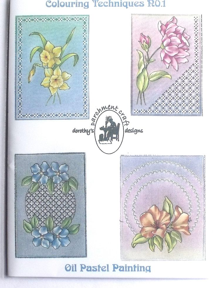 COLOURING TECHNIQUES NO 1 BY DOROTHY HOLNESS  A pattern pack of four beautiful designs showing you how to improve your techniques for oil pastel painting.