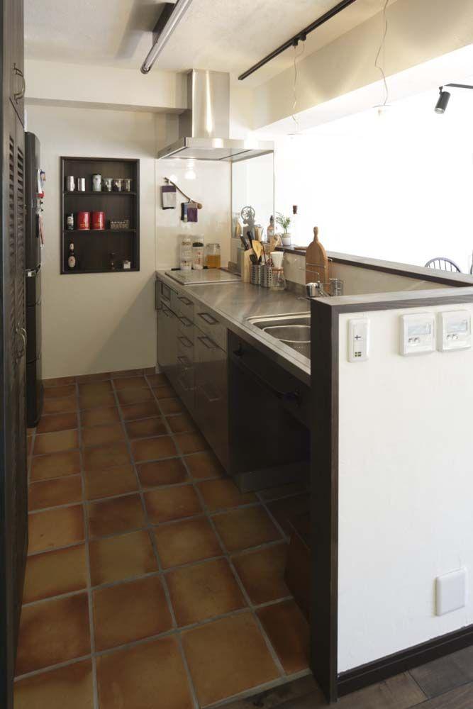 キッチン、対面式、造作収納、ニッチ、棚、横田満康建築研究所 More