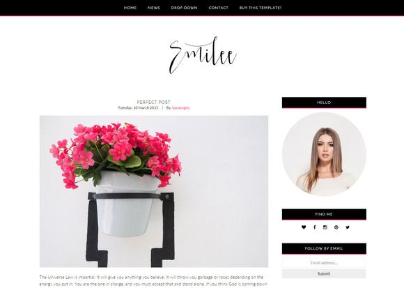 Feminine Blogger Template - Emilee by LucaLogos on Creative Market