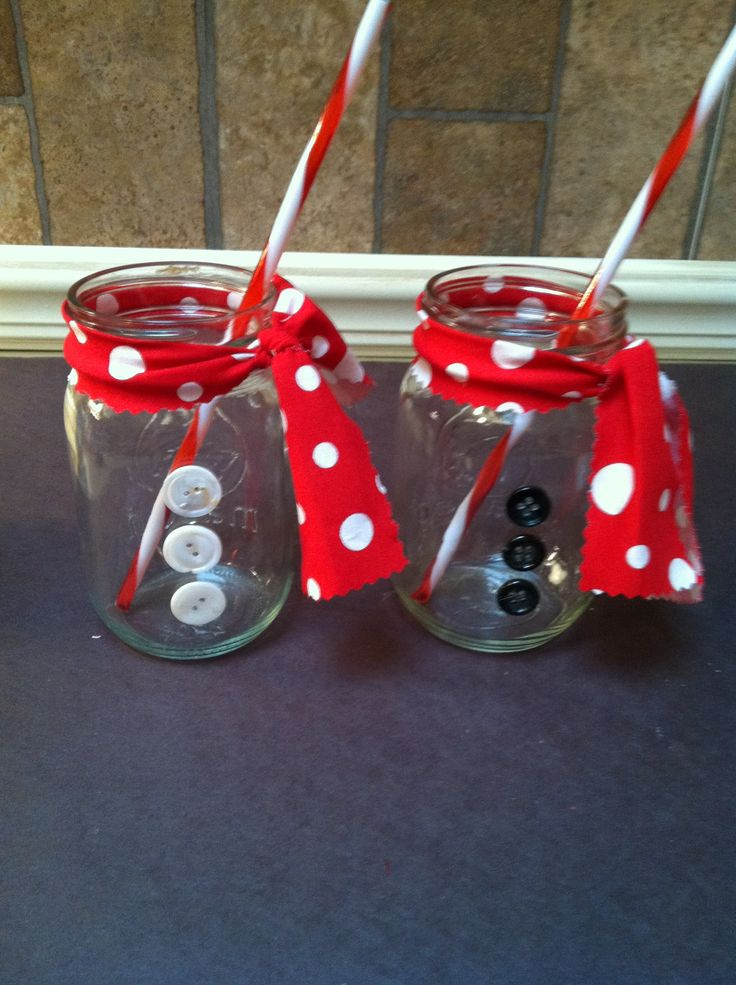 Mason jars for Christmas buttons and scarves