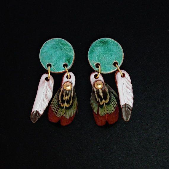 Medicine Shield Dangle Earrings Malachite Glaze Pheasant Feathers