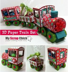 "3D Paper Train Set--How cute would this train go along with the Christmas story ""The Polar Express!!""  There is a PDF pattern included for hand cutting if you don't own a cutting machine. *This is a pay file*"