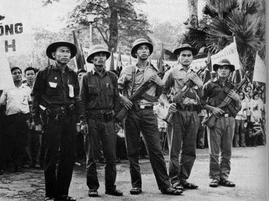 North Vietnamese Army soldiers wore a variety of headgear, the most common a pith-type helmet made of pressed paper or even of plastic, with a five-pointed star insignia. Viet Cong troops often wore the floppy cotton hat in the field.