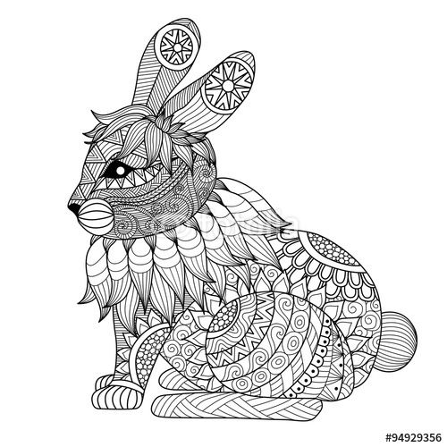 Vector Drawing zentangle rabbit for coloring page, shirt