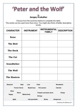 Worksheets Music Appreciation Worksheets 183 best images about music appreciation on pinterest elementary peter and the wolf worksheets
