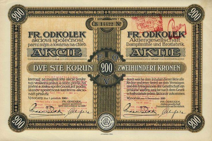 FR. ODKOLEK, akc. spol. parní mlýn a továrna na chléb (Fr. Odkolek AG Dampfmühle und Brotfabrik). Akcie na 200 Kč. Vysočany (Praha), 1919.