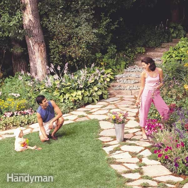 Weave this flagstone garden path just about anywhere in your yard. There's no thick base to install or difficult cutting and fitting—you just lay the stone over a simple sand bed.