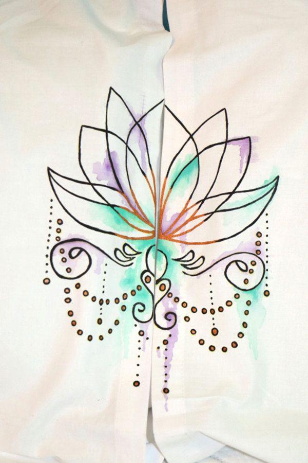Hand Painted Lotus Pillowcases by JadedSphnix on Etsy