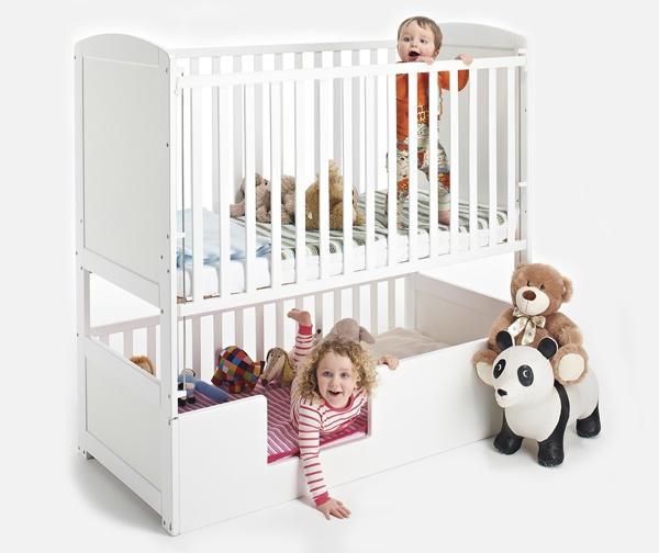 What a fab idea. Convertible BunkCot -   designed with 'saving space' in mind. It's ideal for 2 babies or children sharing a room. A single Convertible bunkcot takes up half the space of two standard cots or beds, allowing your children more room to play. Genius!  #Cot #Twins #Home #Nursery #Design
