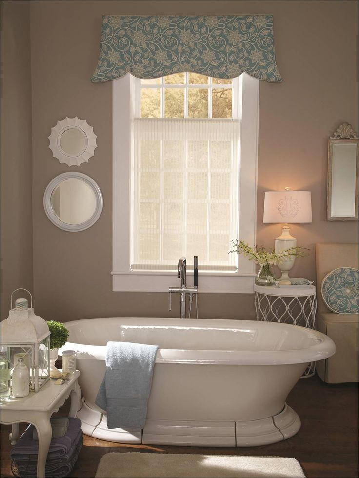 Bathroom ideas free standing tub with a lafayette roller for What type of blinds for bathroom