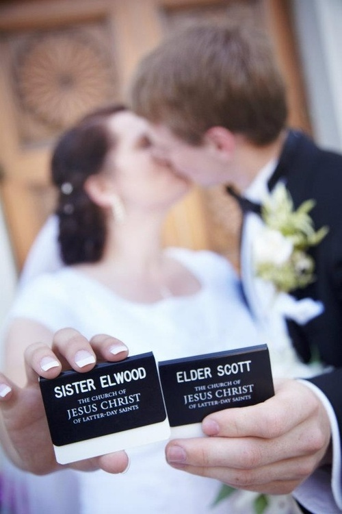 wedding picture in front of Temple with missionary badges. dedicated! <3