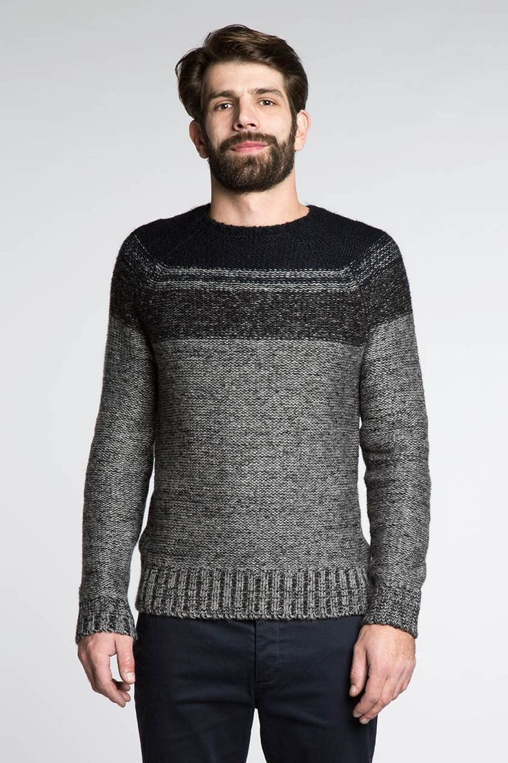 Pull homme chiné encolure rayée - Bonobo Jeans