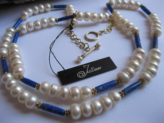 Royal Blue Lapis Lazuli and White Pearl Necklace in Gold