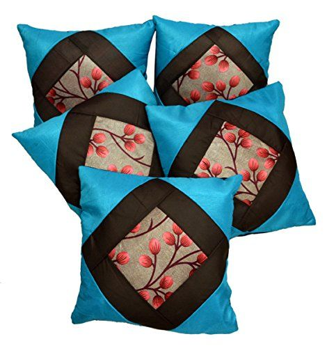 5pc Silk Blue Modern Ultra Luxury Home Decor Contemporary Pillow Cases Cushion Covers Krishna Mart India http://www.amazon.com/dp/B010FVQVQK/ref=cm_sw_r_pi_dp_4uILvb0T2D3NQ
